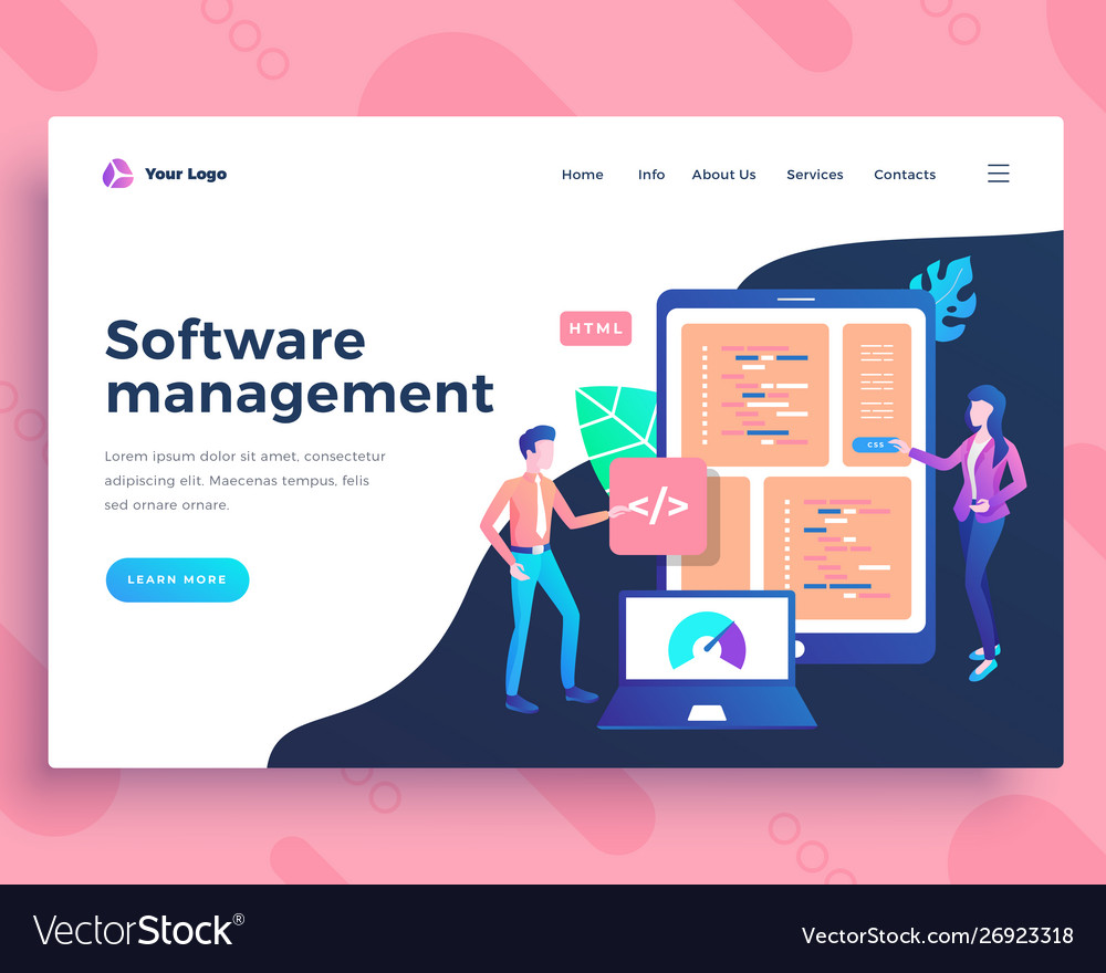 Landing page template software management concept