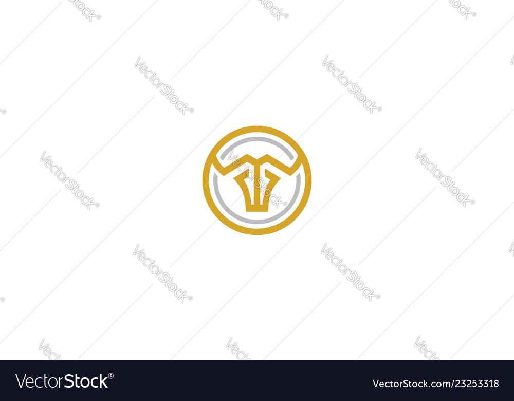 Line art bull logo icon