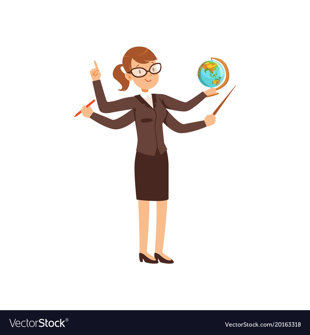 Multitasking teacher with a pointer and globe