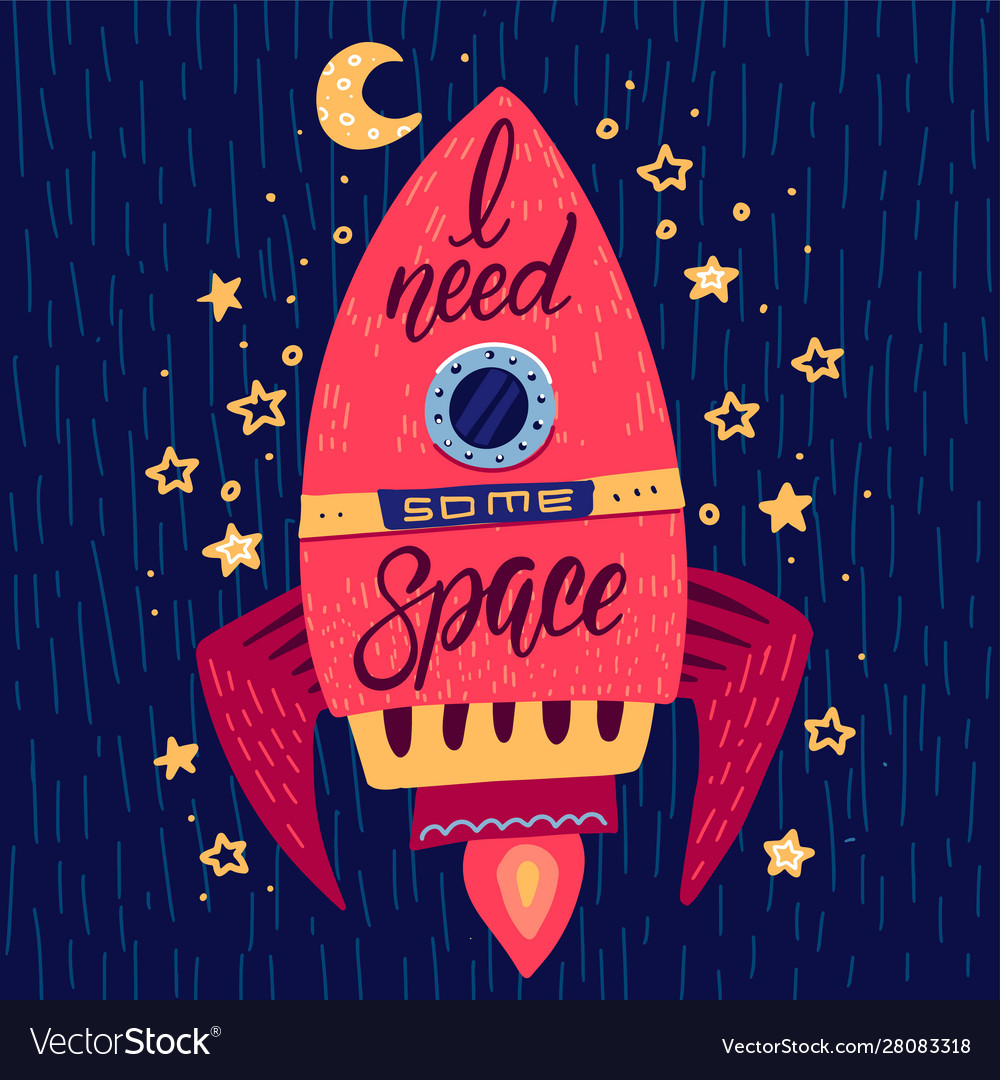 Need some space slogan graphic on rocket in space