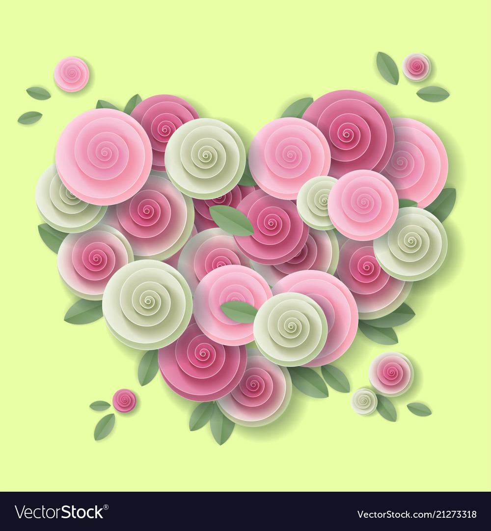 Rose heart paper art style design