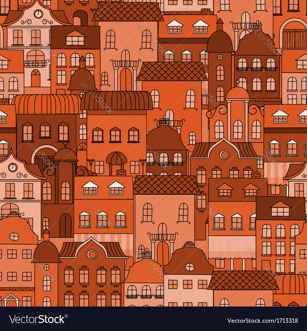 Seamless pattern with old town
