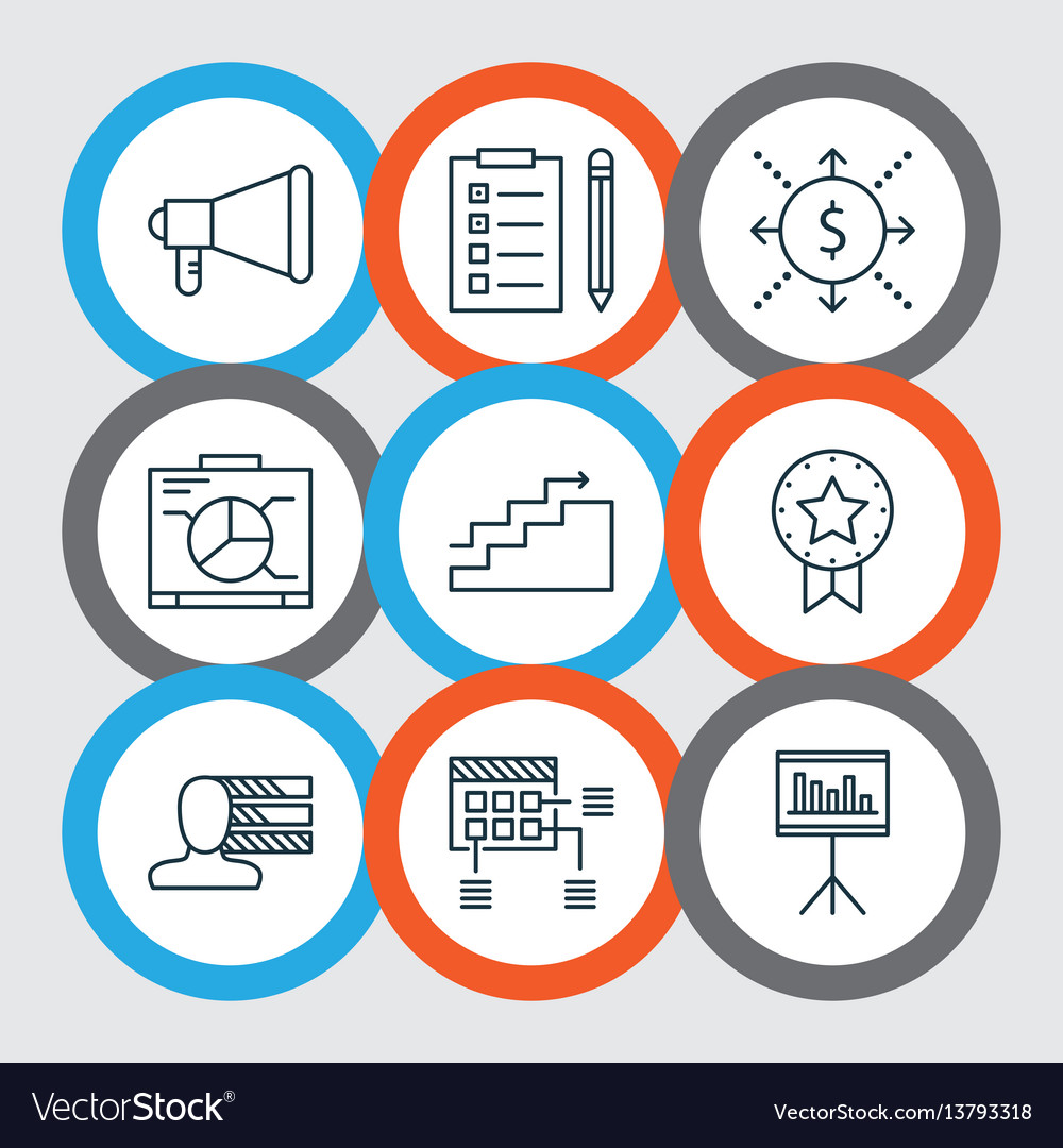 Set of 9 project management icons includes money