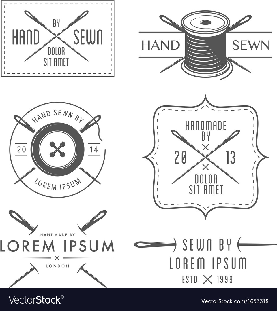 Set of vintage tailor labels and emblems vector image