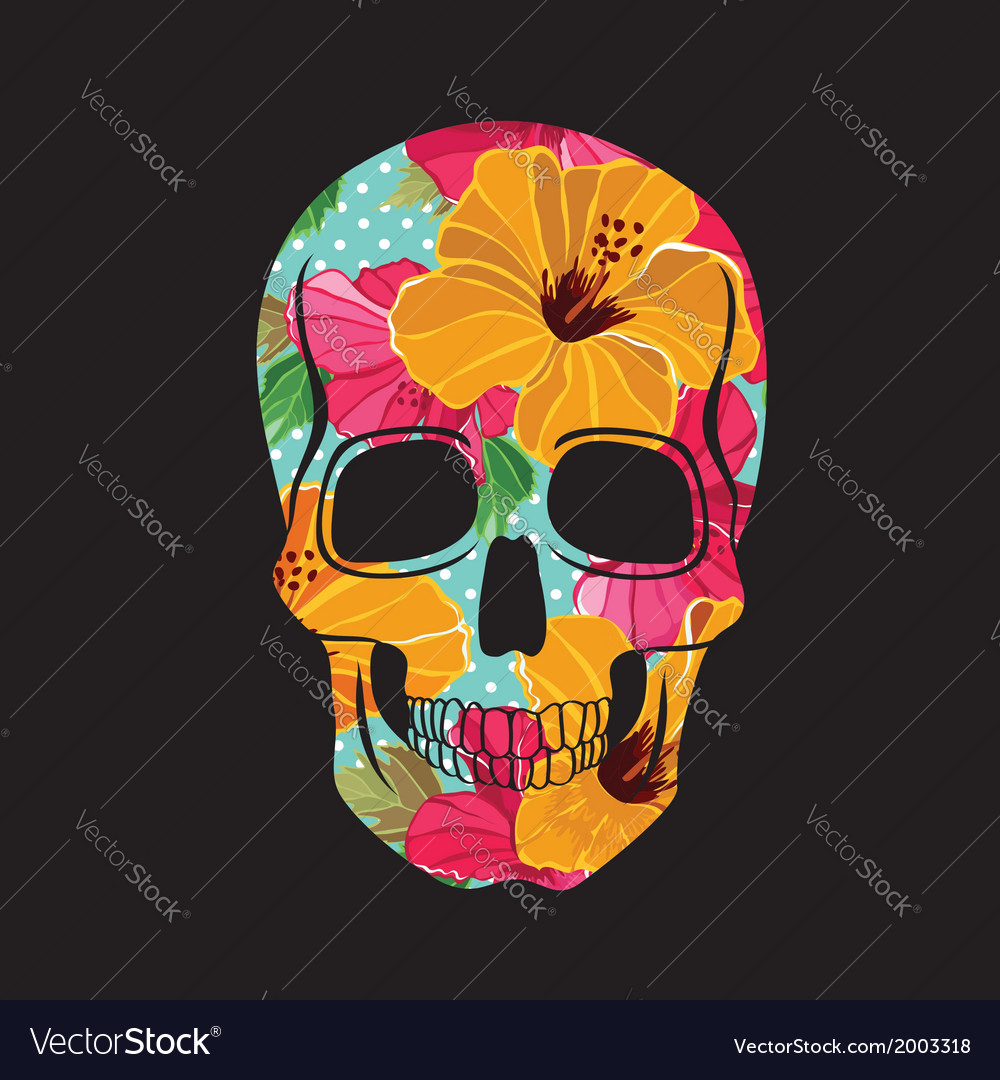 Skull with floral ornament