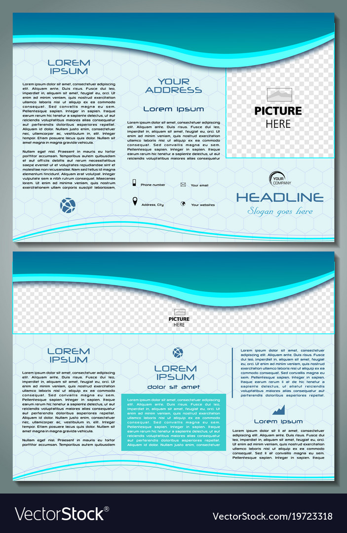 Trifold brochure template with blue waves