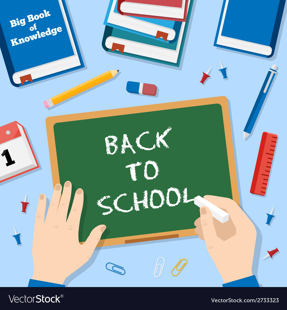 Back to School Flat Style Background With Chalk