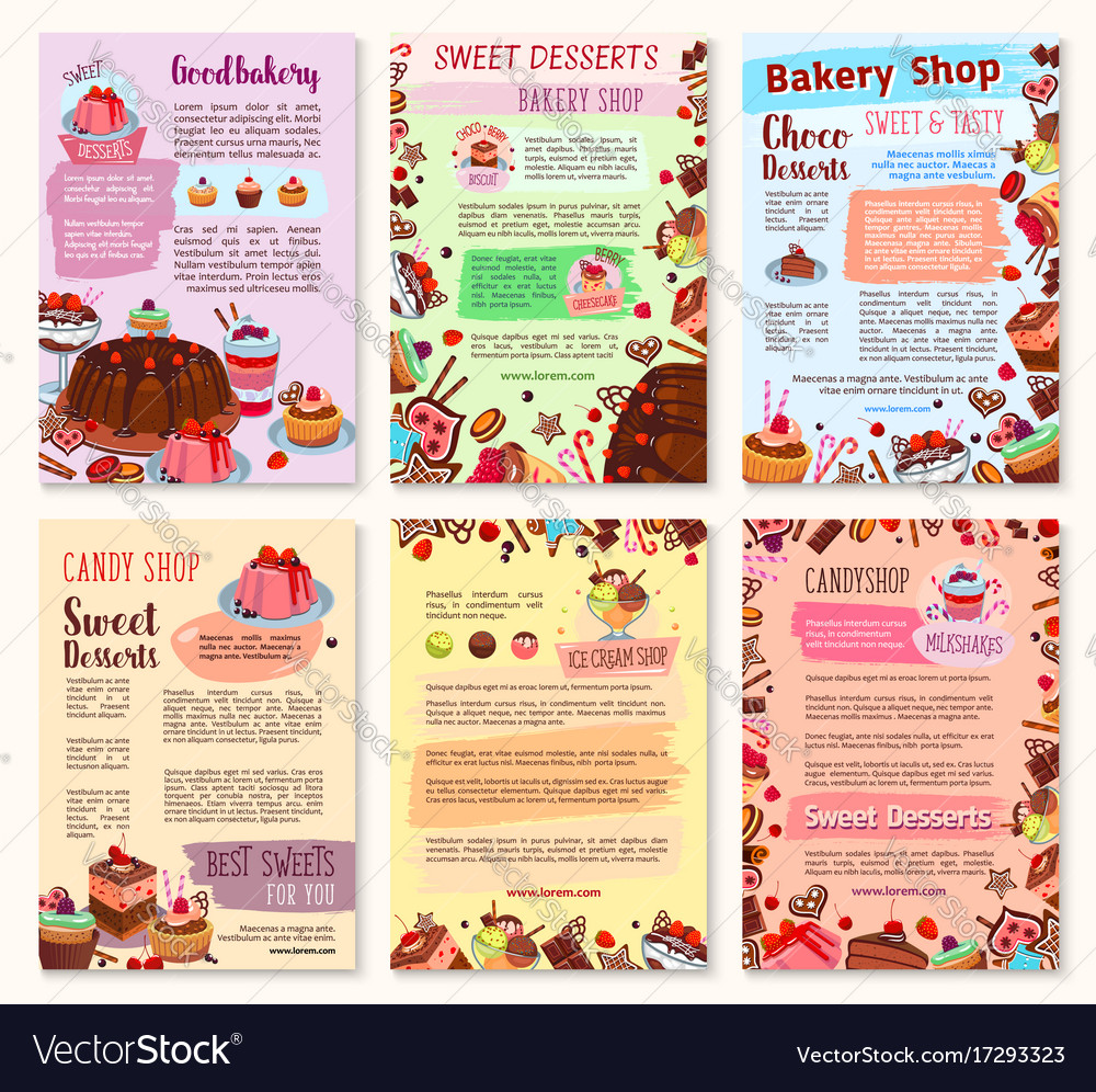 Bakery dessert sweets and ice cream posters