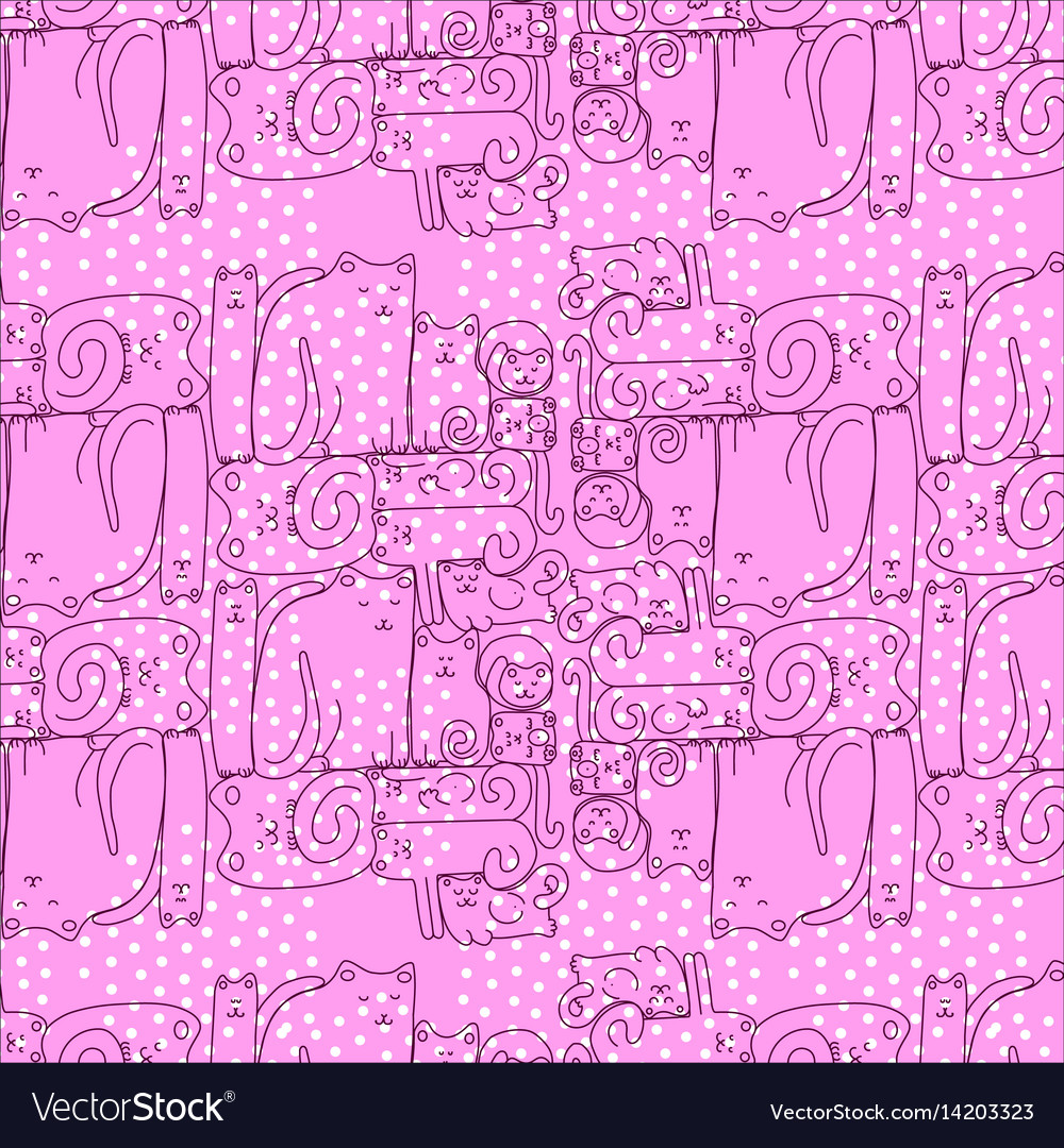 Bright pink seamless pattern with sleepy cats vector image