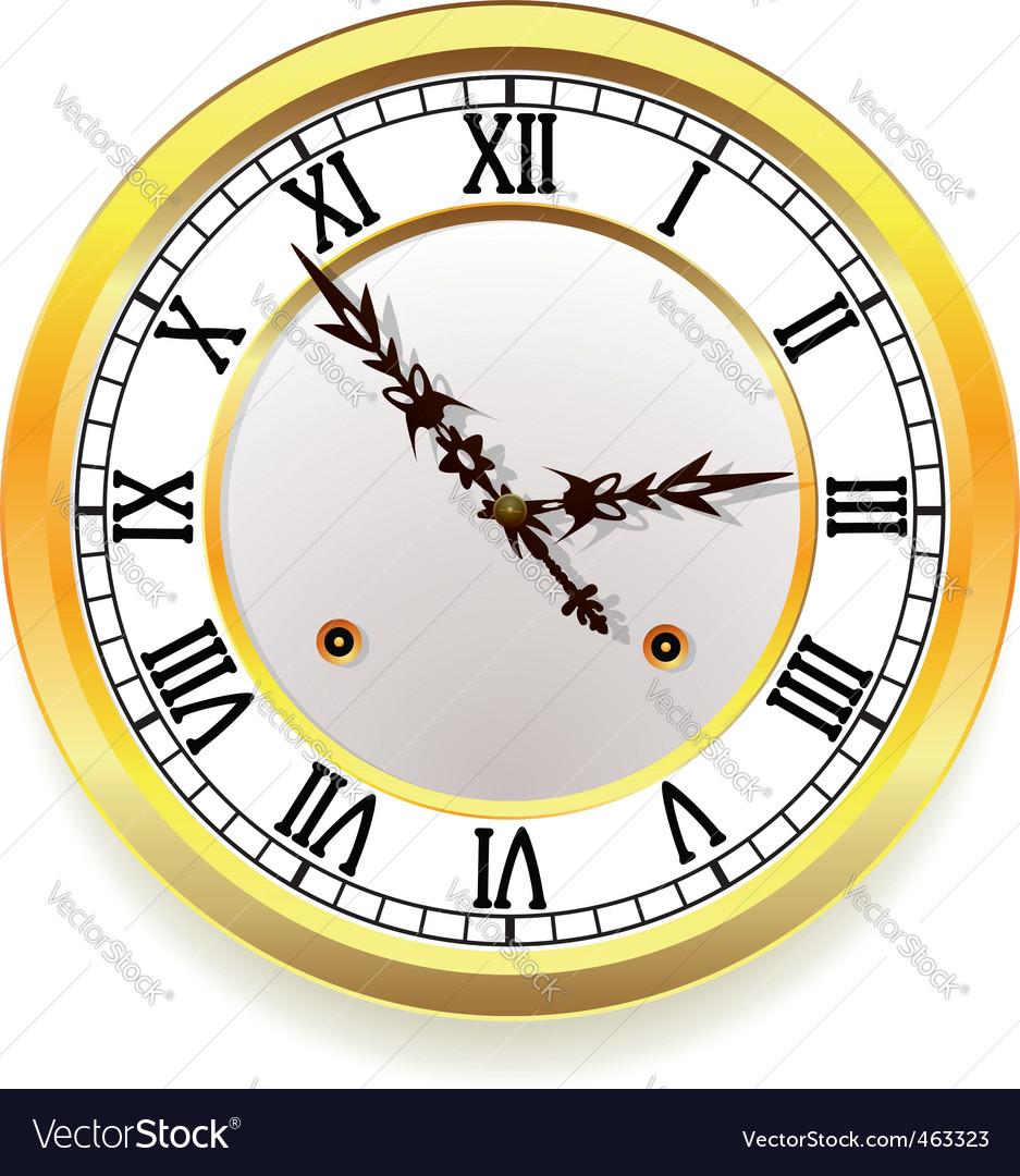 Golden clock vector image