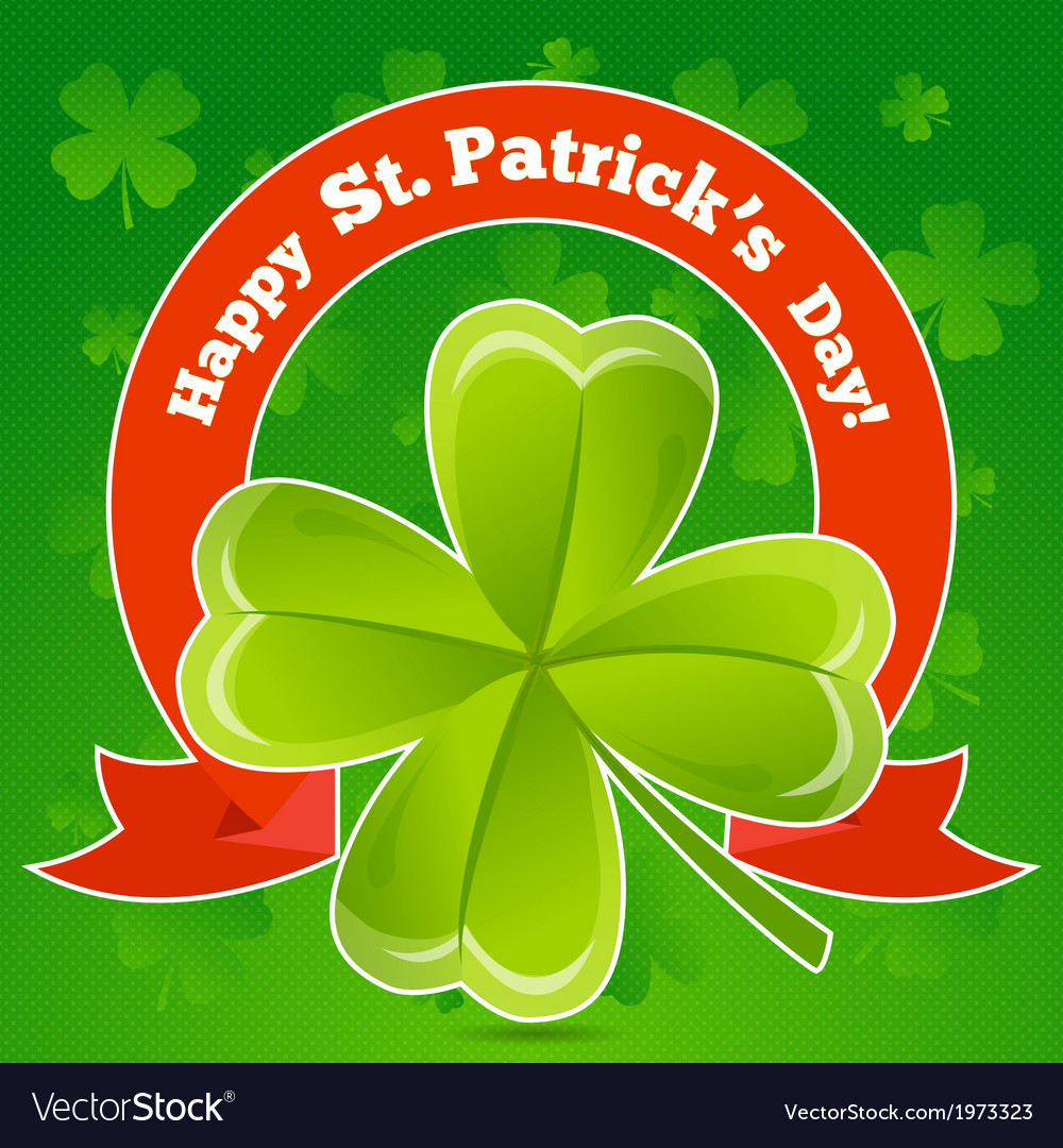 Greeting card patricks day with clover