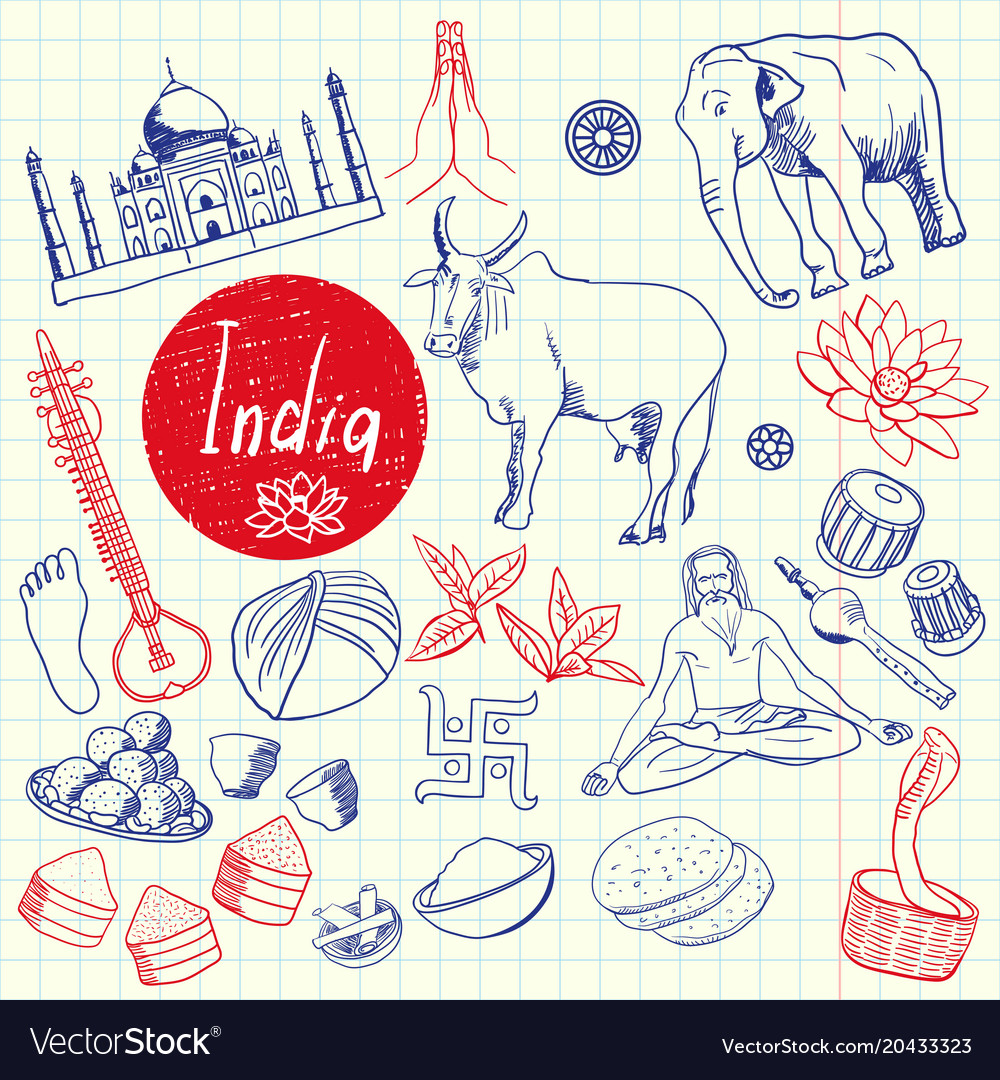 Indian symbols pen drawn doodles collection