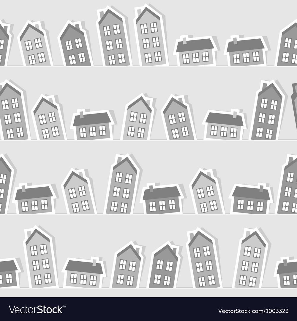 Monochrome paper town seamless pattern