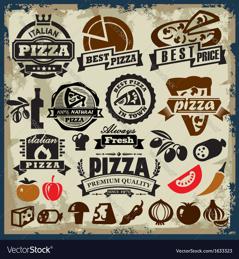 Pizza sign set vector image