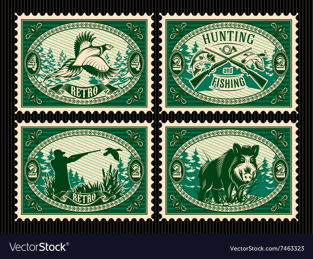 Set template of stamps with elements for hunting