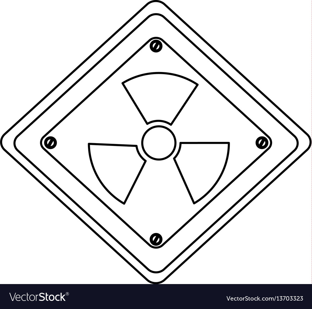 Silhouette metal emblem warning radiation sign vector image