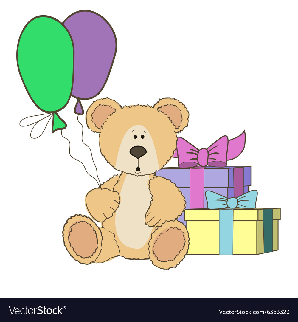 Teddy Bear with gift boxes and balloones