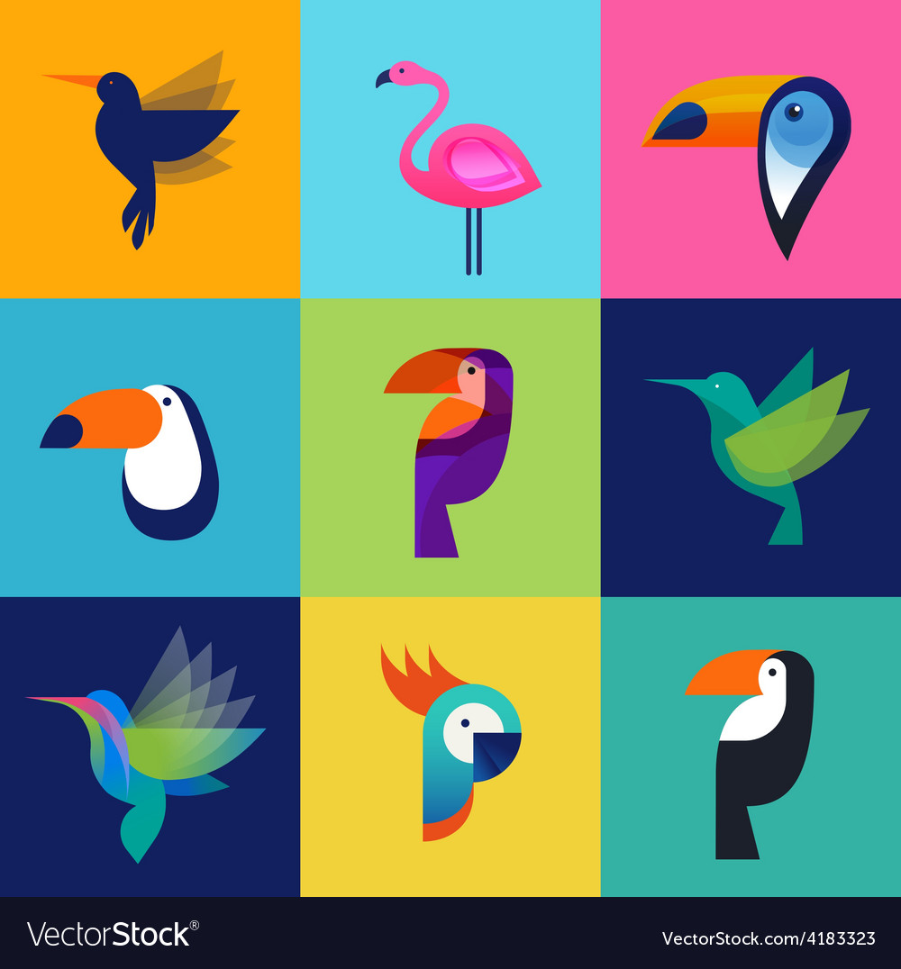 Tropical birds - set of icons