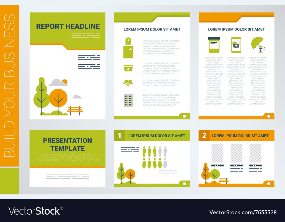 a4 sheet cover and presentation template in green vector image, Ub Presentation Template, Presentation templates
