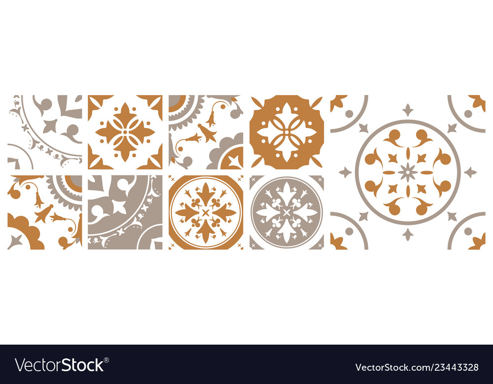 Square Ceramic Tiles With Vector Image