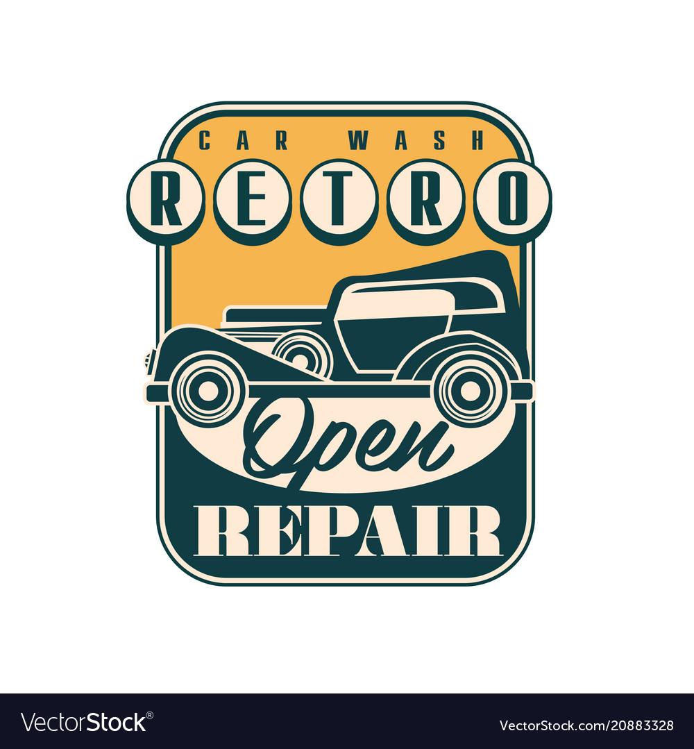 Car wash and repair logo design retro service