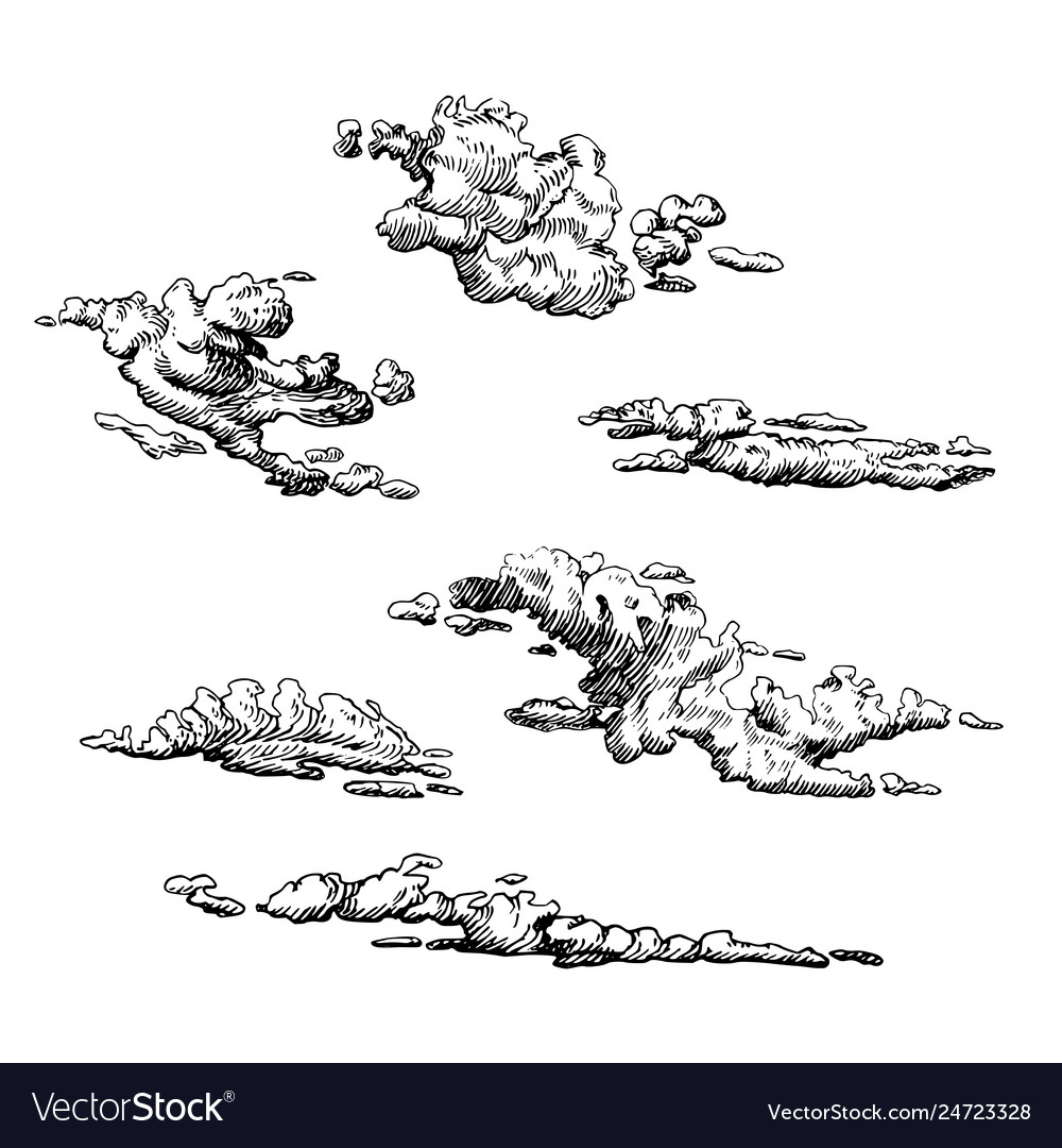 Clouds set hand drawn in engraving style