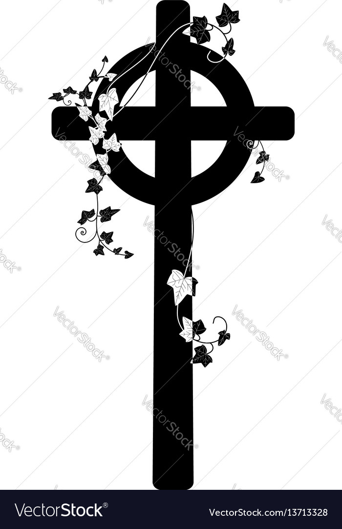 Crucifix and ivy vector image