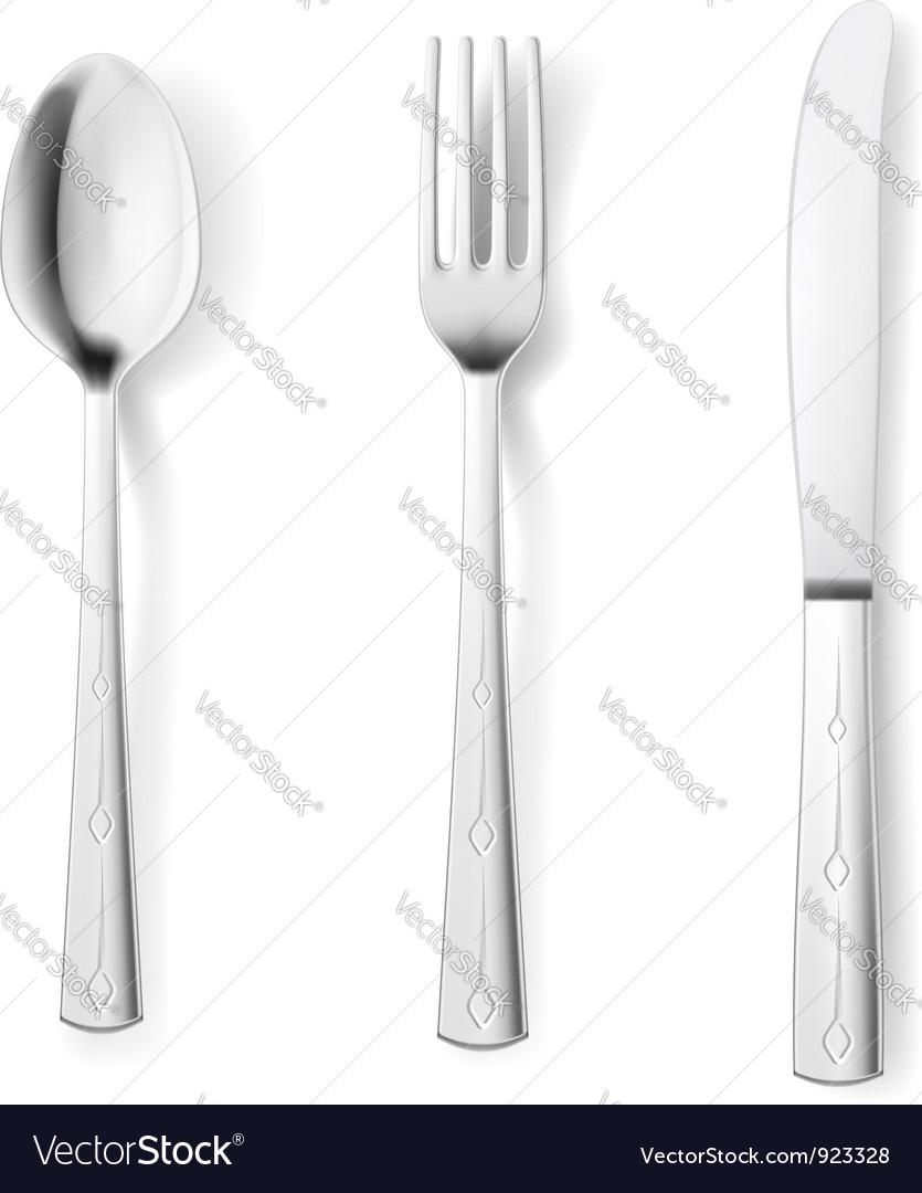 Cutlery fork spoon knife vector image