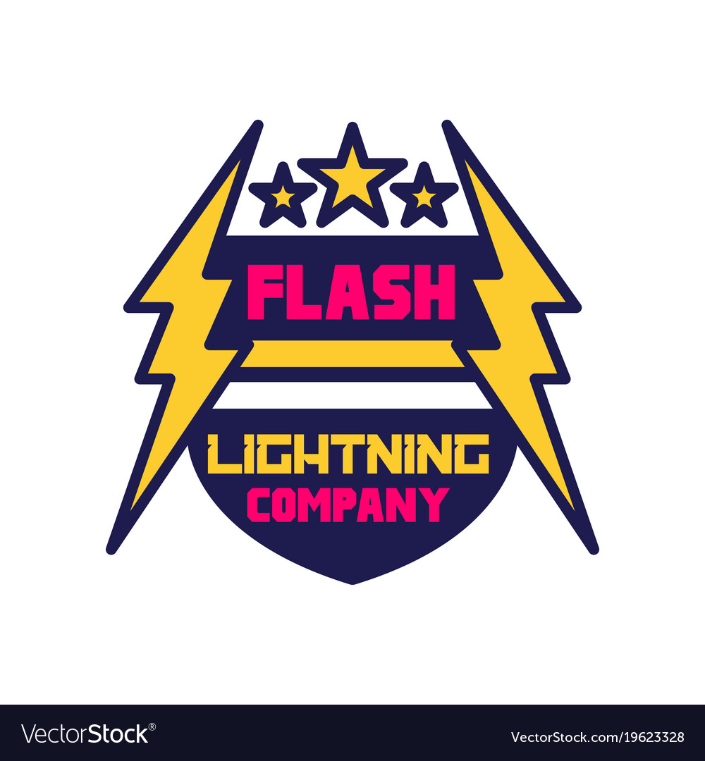 flash lightning company logo template badge with vector image