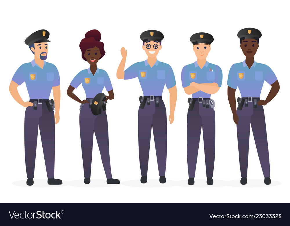 Group police officers people man and woman