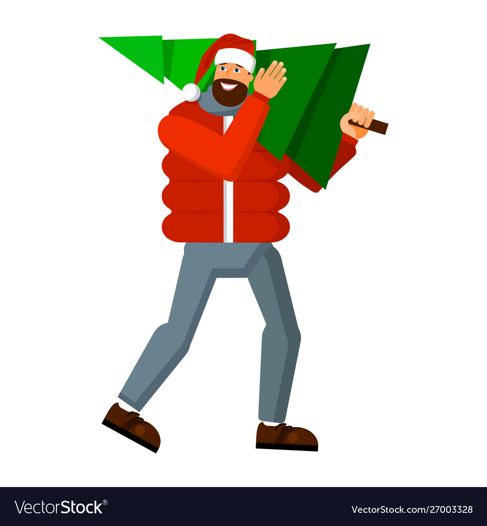 Happy man in winter clothes and a santa claus hat