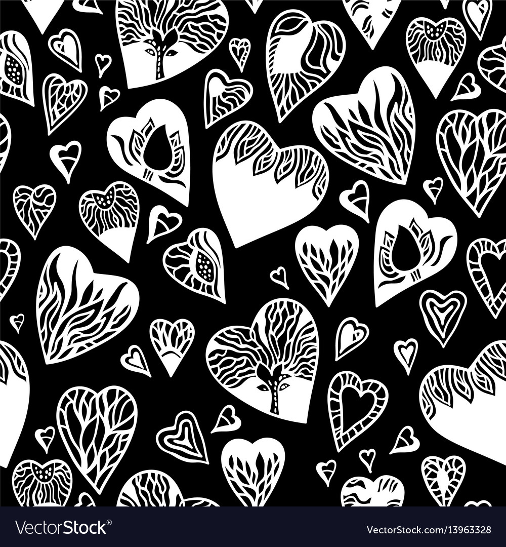Love pattern with hand drawn doodle hearts