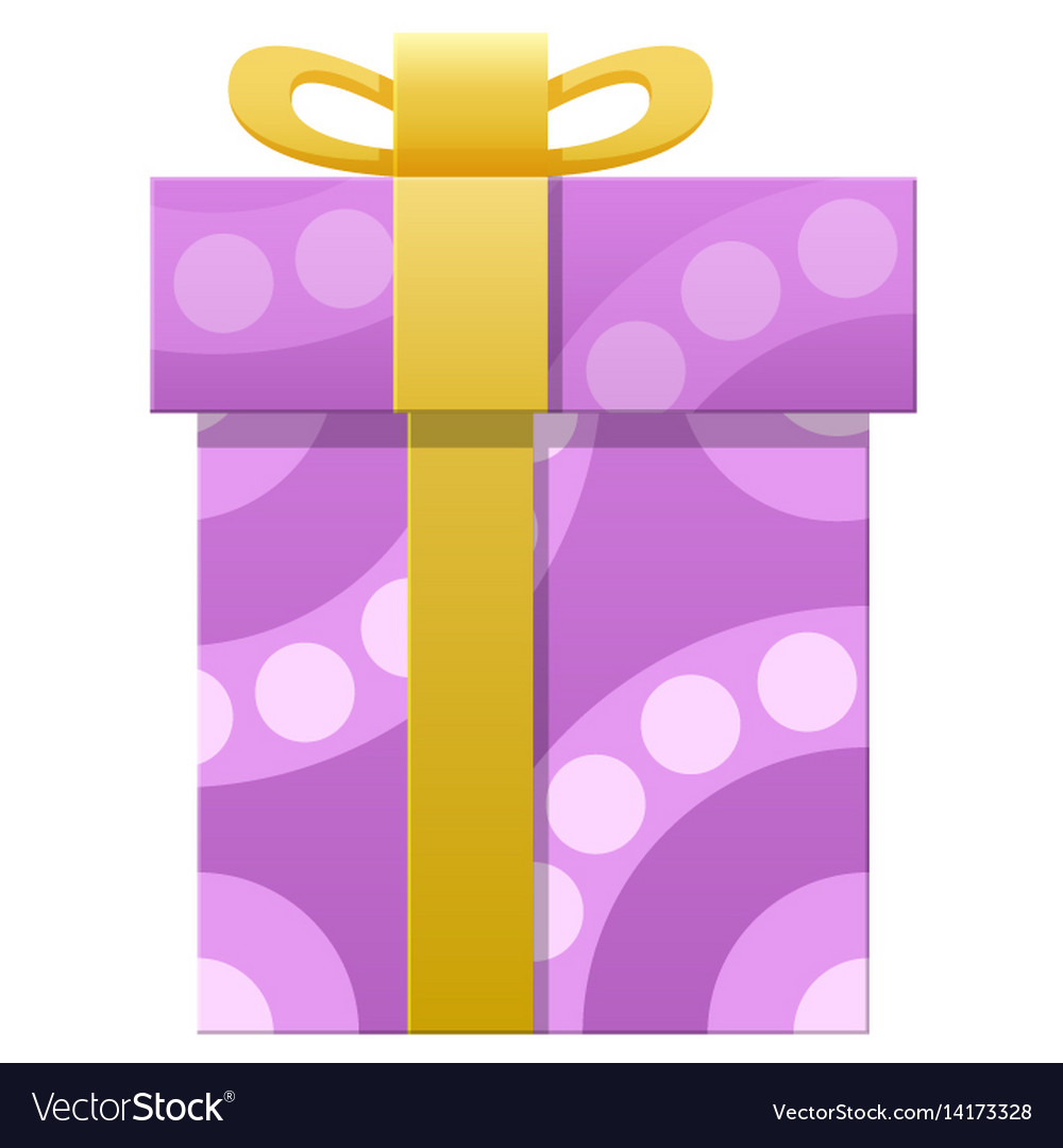 Package wrapped in colorful paper with purple dots