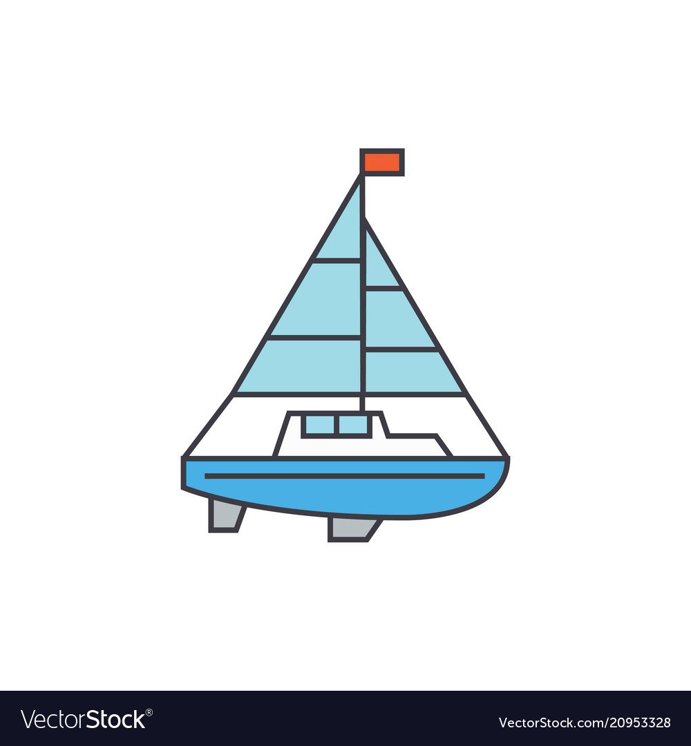 Sailing yacht line icon concept sailing yacht