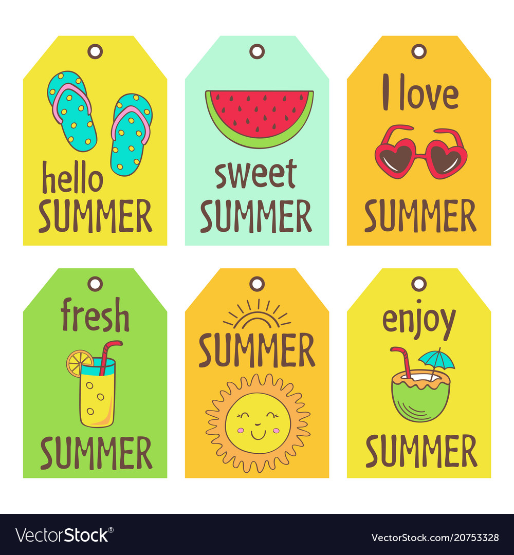 Set of summer tags
