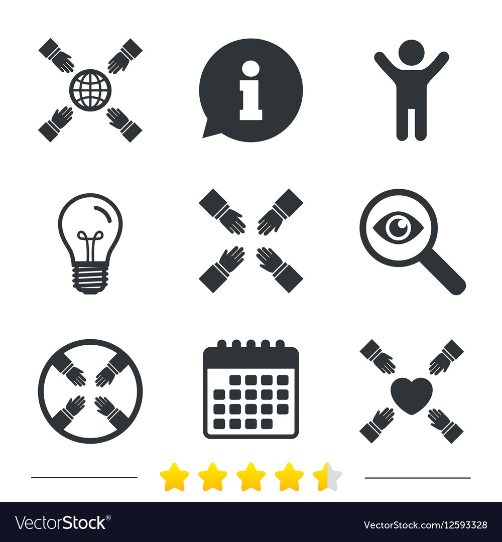 Teamwork icons Helping Hands symbols