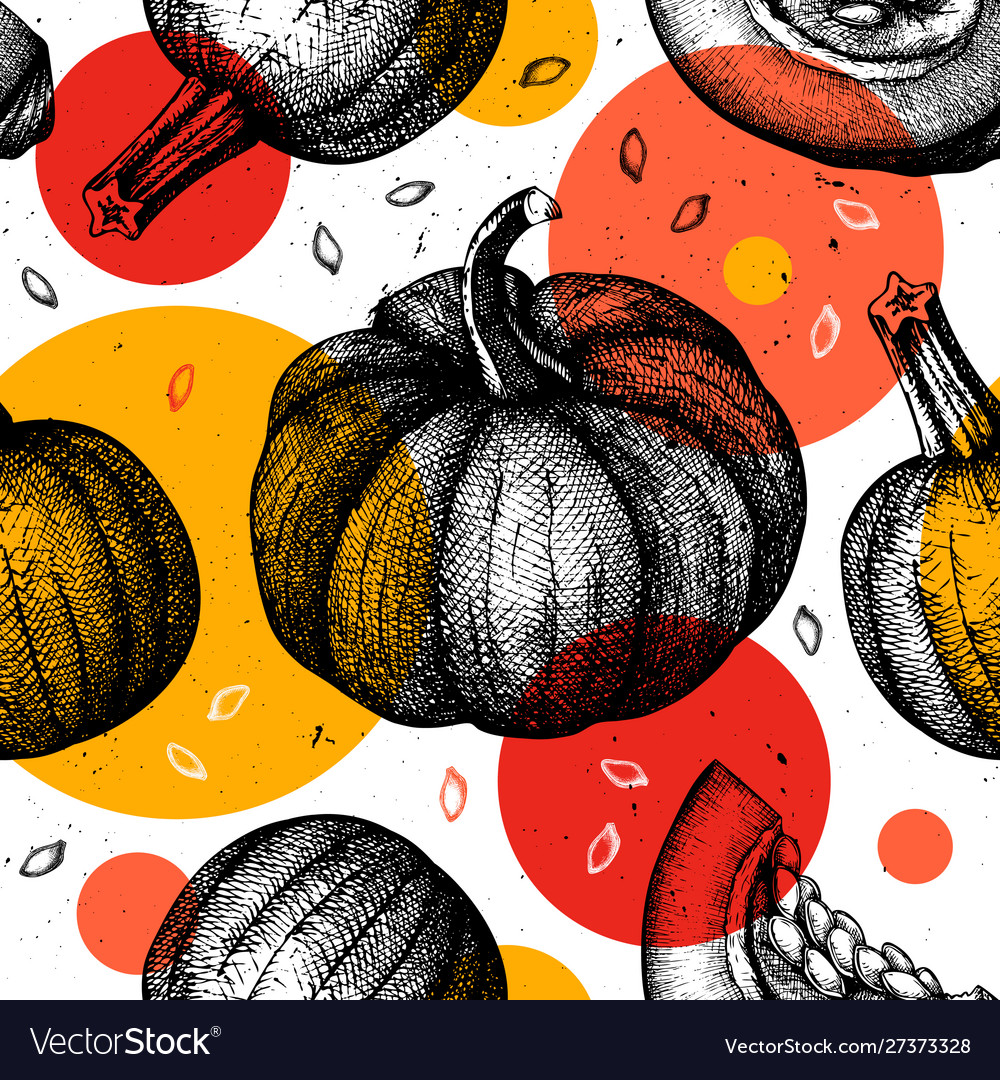 Trendy seamless pattern with hand drawn pumpkins