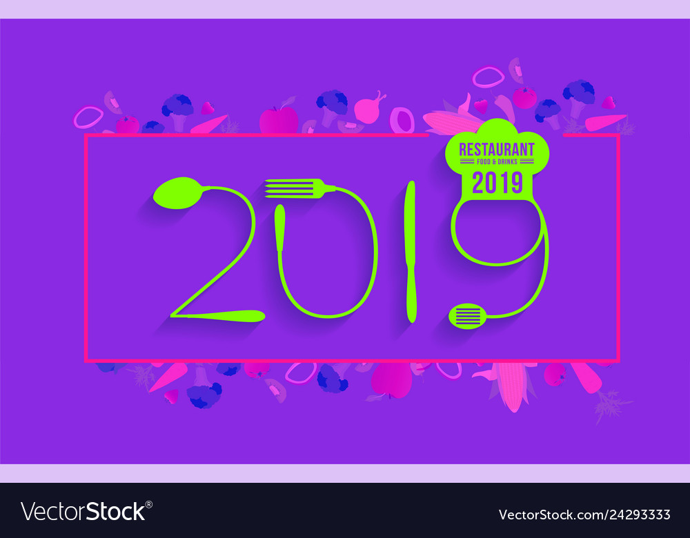 2019 new year text made number with spoon
