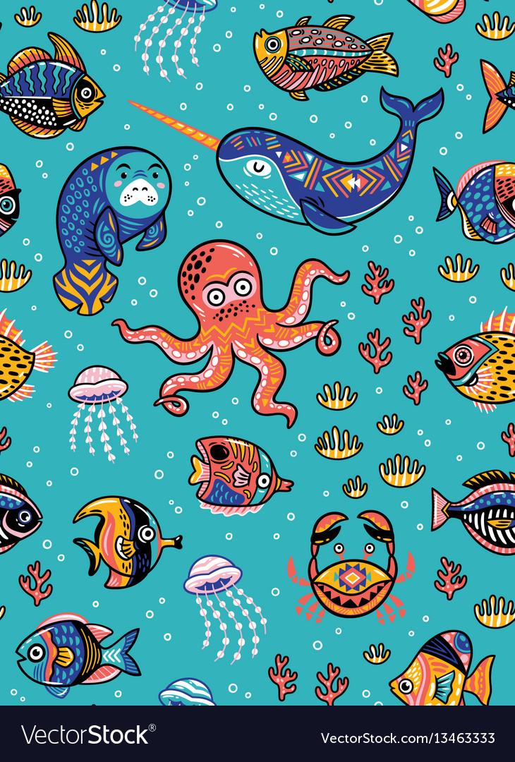Aquatic animals seamless pattern