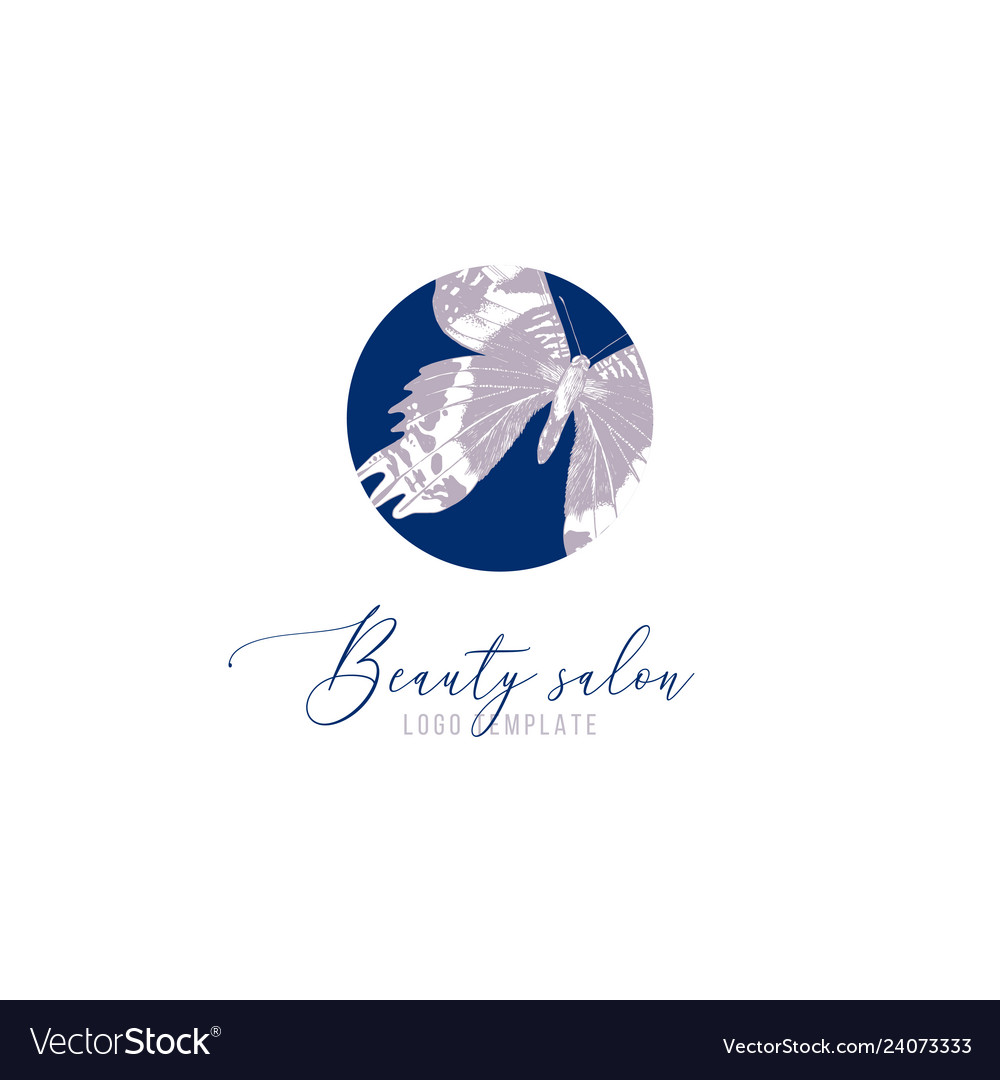 Beauty salon logo template with hand drawn