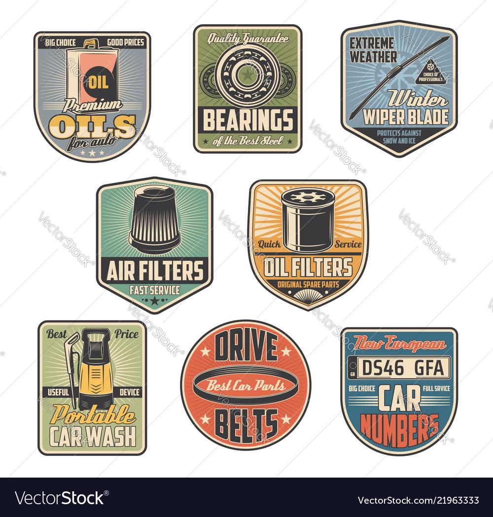 Car repair service retro icons