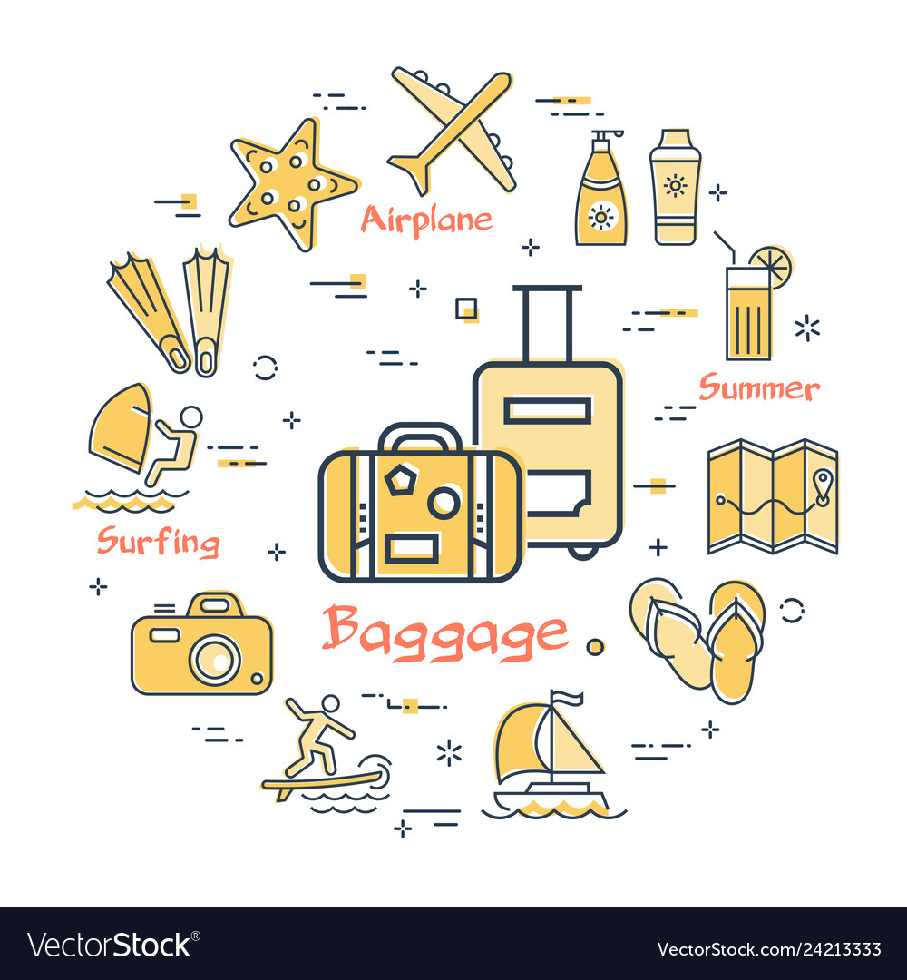 Concept of summer time with baggage icon