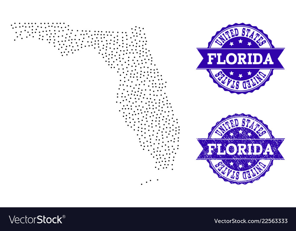 Florida State Map.Dotted Map Of Florida State And Scratched Seal Vector Image
