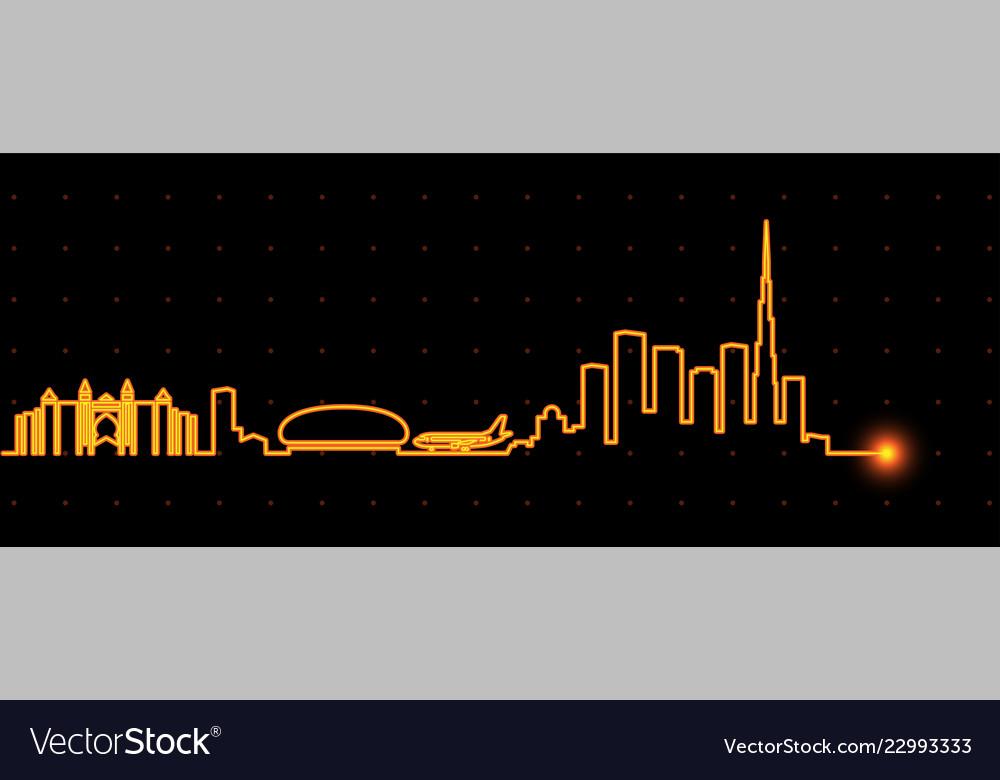 Dubai light streak skyline
