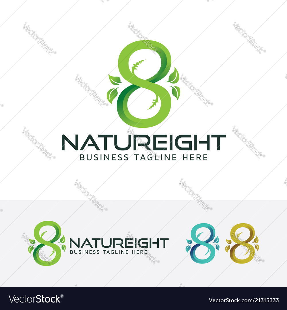 Eight or infinity symbol and nature logo