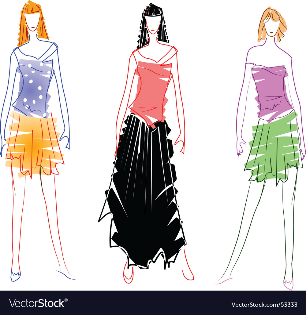 Fashion Design Sketches Royalty Free Vector Image