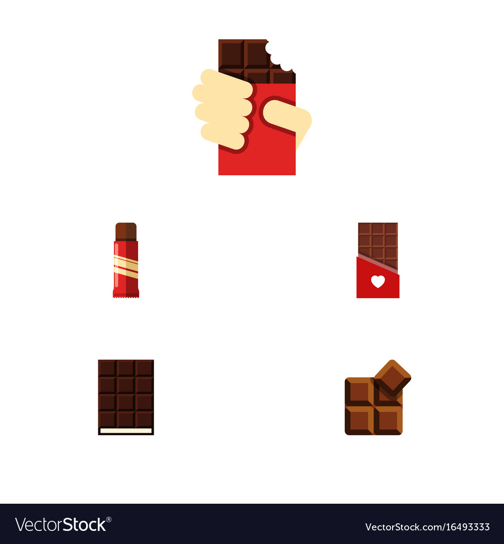 Flat icon chocolate set of dessert cocoa sweet vector image