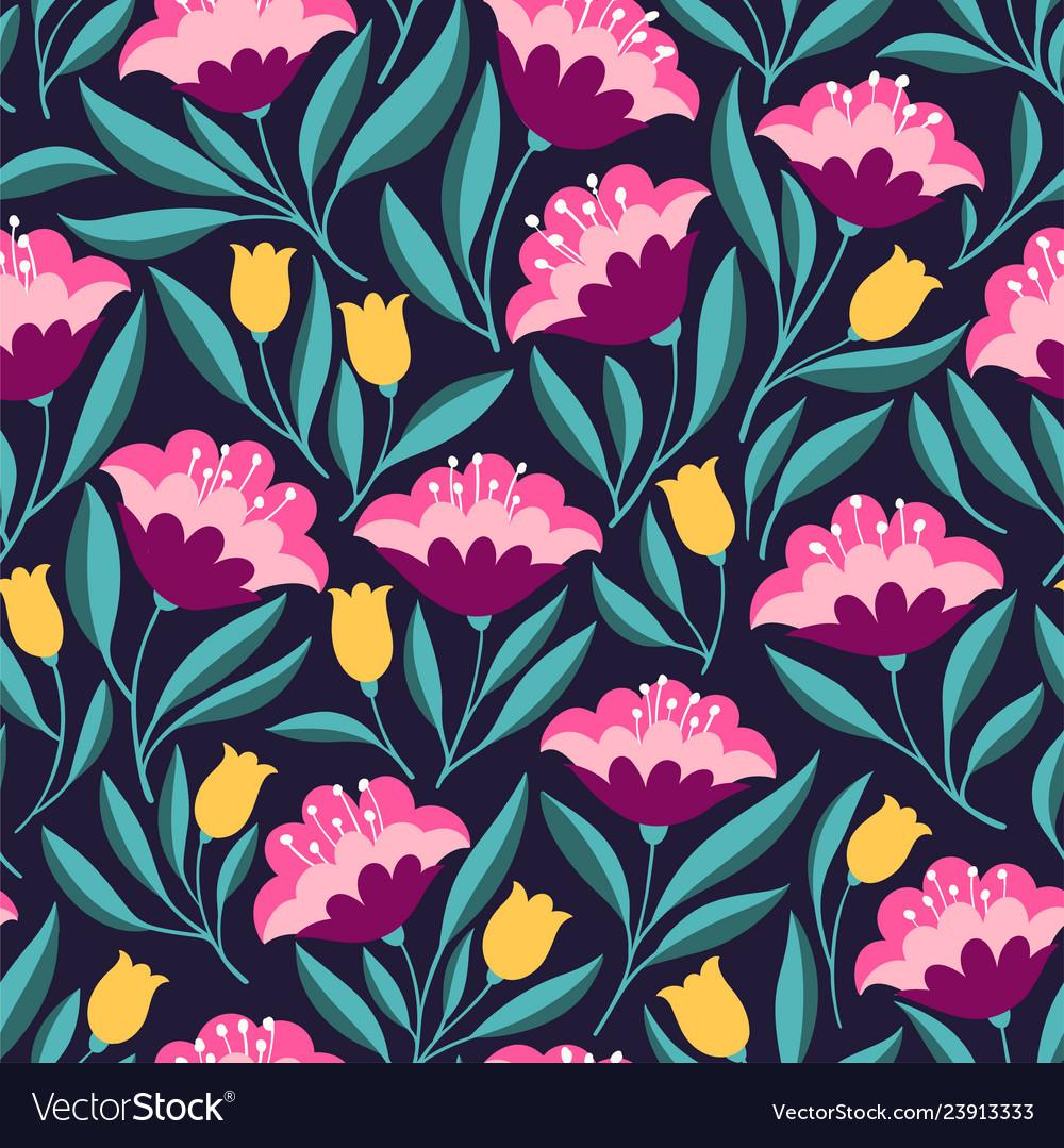 Folk flowers bright seamless pattern