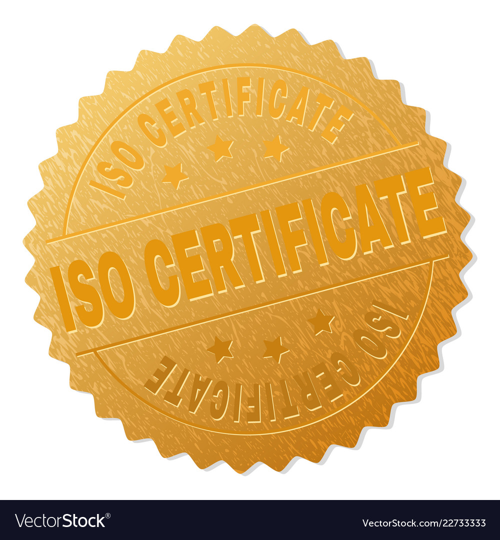Gold Iso Certificate Badge Stamp Royalty Free Vector Image