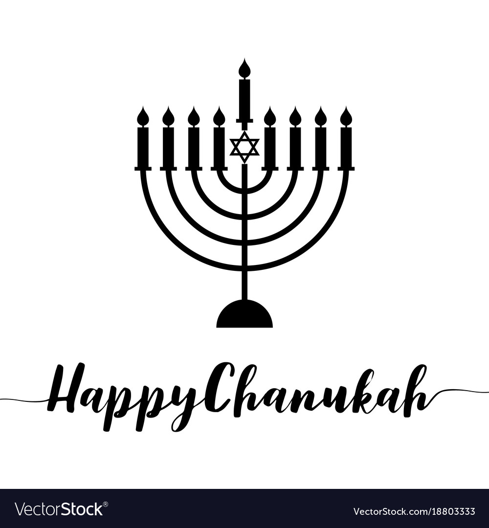 Happy chanukah calligraphic with menorah
